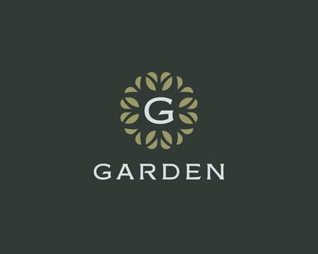 initials: Premium monogram letter G initials. Universal symbol icon vector design. Luxury abc leaf
