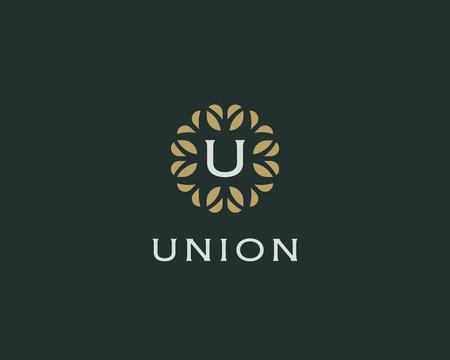 initials: Premium monogram letter U initials. Universal symbol icon vector design. Luxury abc leaf