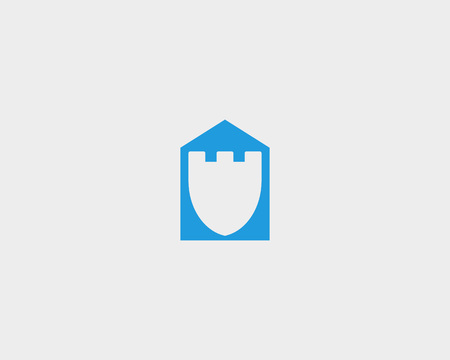 guard house: Fortress house guard design template. Shield negative space home shape vector