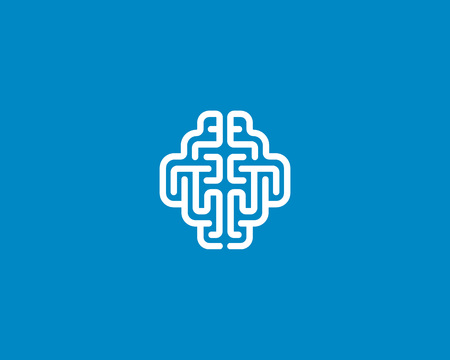 clean lungs: Linear brain  generate idea design template. Color line   sign. Universal smart mind maze game vector icon