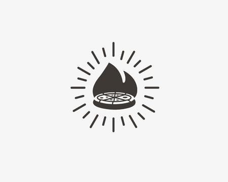 Pizza  design. Pizzeria vector label, badge. Italian food court hipster creative sign symbol Illustration