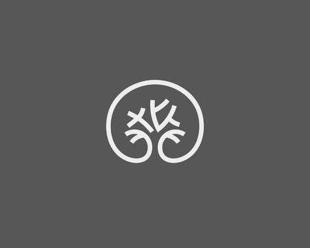 solid line: Abstract elegant tree park line   icon vector design. Universal creative premium solid symbol. Graceful lined vector sign