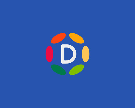 d mark: Color letter D icon vector design. Illustration