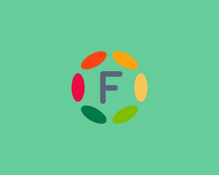 hubs: Color letter F   icon vector design.