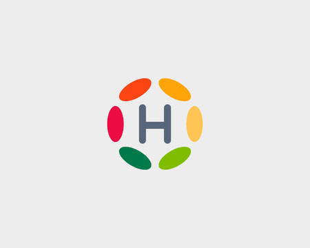 Color letter H icon vector design.
