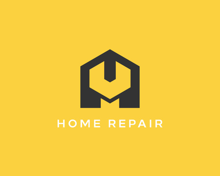 house building: House repair service tool shop sign. Creative idea wrench home icon creative mechanic symbol icon. Negative space symbol.