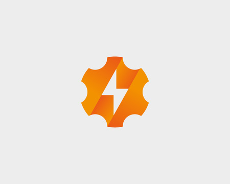 Abstract cog wheel with flash design template. Geometric gear fast quick thunderbolt. Universal energy tech rapid app vector icon symbol. 向量圖像