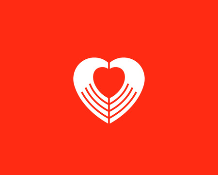 massage symbol: Heart negative space hands vector. Charity medical sign symbol. Spa beauty salon massage icon design
