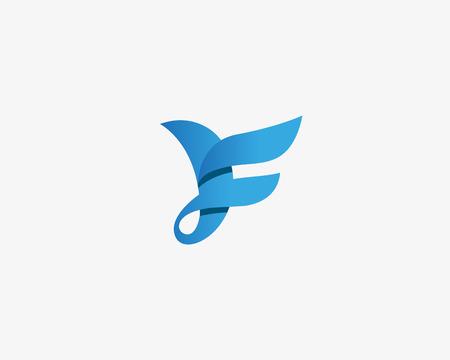 Diseño abstracto del logotipo del pájaro. Símbolo de signo de color creativo. Logotipo de lujo de la letra F