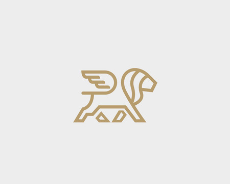 Lion with wings logo design template. Linear premium vector logotype.