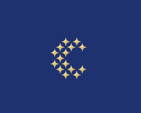 glamorous: Stars letter C vector logotype. Luxury abc icon sign. Shiny elegance font symbol. Celebrity glamorous type logo