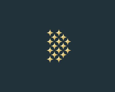 glamorous: Stars letter D vector logotype. Luxury abc icon sign. Shiny elegance font symbol. Celebrity glamorous type logo