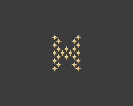 glamorous: Stars letter H vector logotype. Luxury abc icon sign. Shiny elegance font symbol. Celebrity glamorous type logo Illustration