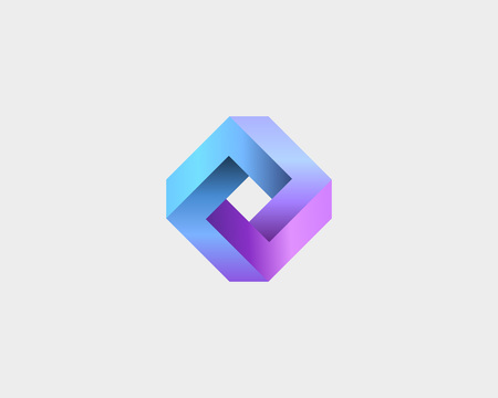 forme geometrique: Abstract infinity cube design template. Abstract geometric gradient. Universal vector icon symbol Banque d'images
