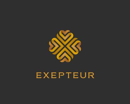 エレガントな心花ロゴタイプを抽象化します。ゴールド プレミアムの普遍的なシンボルです。クリエイティブ ・ ブティックのベクトル リボンのロ