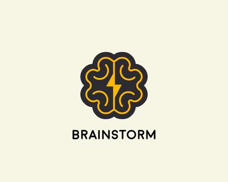 Abstract brain logo design template. Brainstorm vector sign.