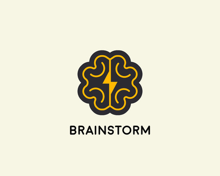 Abstract brain logo design template. Brainstorm vector sign.