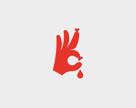 Bones fingers vector sign. Hand Ok blood symbol logotype icon. Humor optimism symbol Illustration