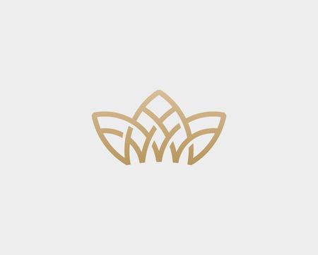 Crown flower lotus logo. Premium house spa vector logotype. Royal line icon symbol. Çizim