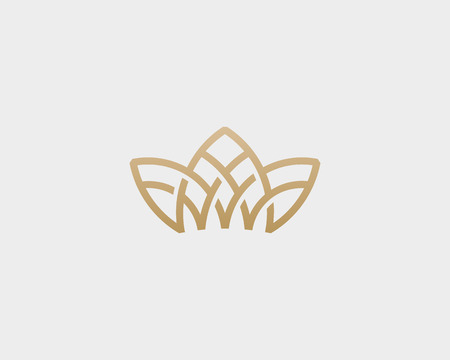 Crown flower lotus logo. Premium house spa vector logotype. Royal line icon symbol. Illustration