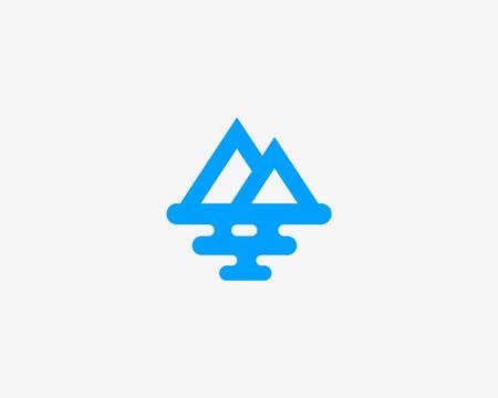 Mountain sea travel logo design. Creative modern tourist line vector logotype. Ilustração