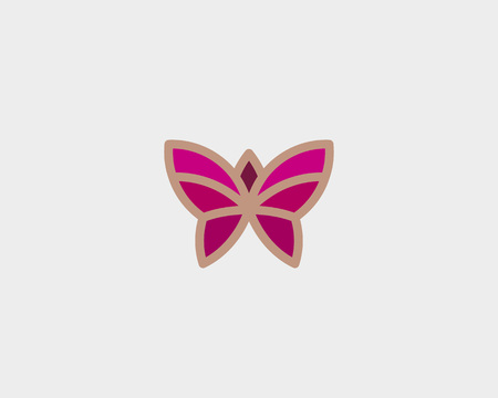 Abstract butterfly flower vector design. Linear minimal premium illustration.