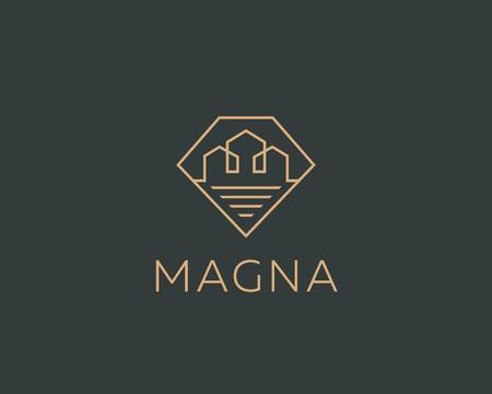 Diamond linear city house logotype. Premium real estate logo. Gem home icon symbol.
