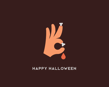 Halloween bones vector sign. Trick or treat ok symbol icon. Humor optimism card greeting logo Illusztráció