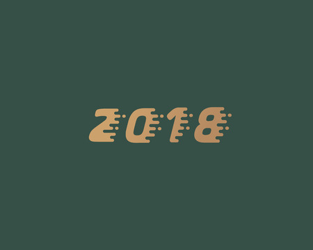 Happy new year 2018 golden text design. Dynamic vector unusual number. Speed moving greeting