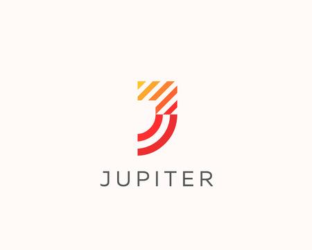 Letter J vector line logo design. Creative minimalism logotype icon symbol.