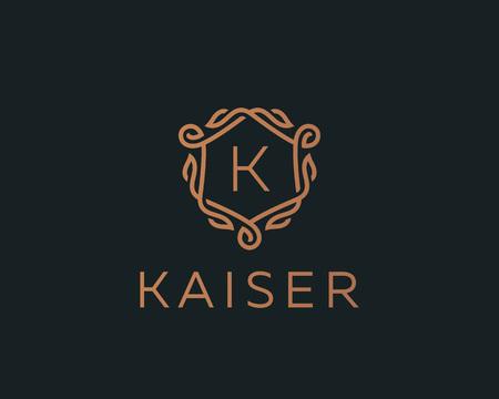 Premium linear shield monogram letter K logotype. Elegant crest leaf stamp icon vector logo. Luxury alphabet frame symbol.