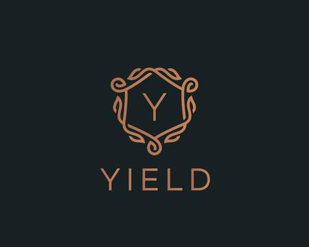 Logotipo Premium scudo lineare monogramma lettera Y. Elegante cresta foglia timbro icona logo vettoriale. Simbolo di lusso cornice alfabeto.