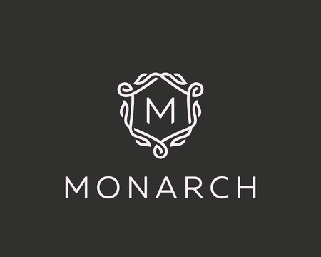 Premium linear shield monogram letter M logotype. Elegant crest leaf stamp icon vector logo. Luxury alphabet frame symbol.