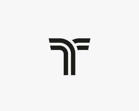 Letter T vector line logo design. Creative minimalism logotype icon symbol.