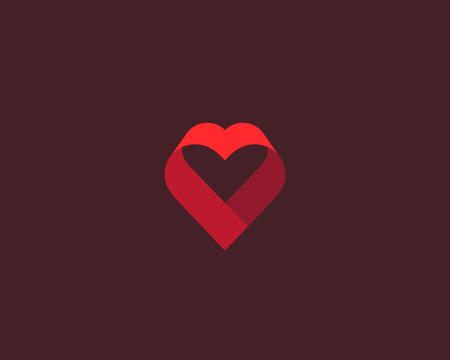 Heart ribbon vector logo. Valentines day vector logotype.