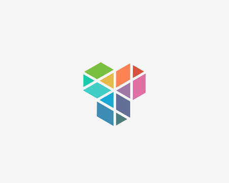 Abstract cube hexagon construction logo design. Geometric vector logo