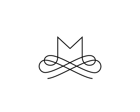 Linear monogram vector symbol logo. Premium letter M logotype Illustration
