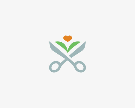 Scissors leaf logotype. Flower heart barber, landscape vector logo.