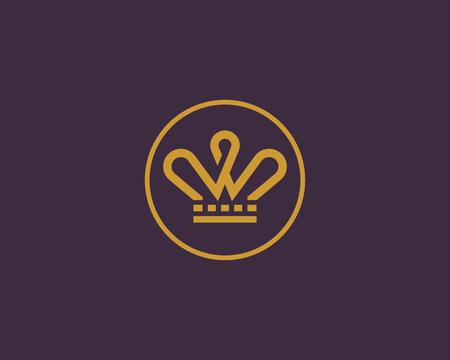 Logo vectoriel couronne élégante. Logotype de la ligne Tiara king.