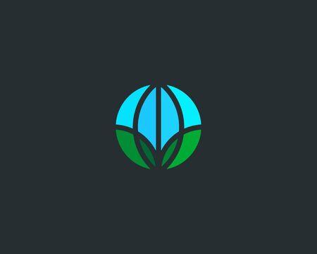 Globe green leaf  Earth eco vector Illustration