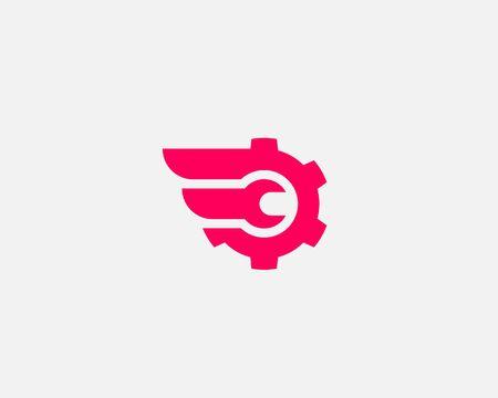 Wrench cogwhell design abstract modern minimal style illustration. Repair service vector icon symbol identity logotype. Illustration