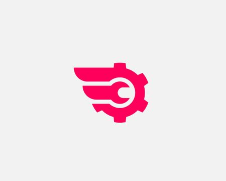 Wrench cogwhell design abstract modern minimal style illustration. Repair service vector icon symbol identity logotype. Çizim