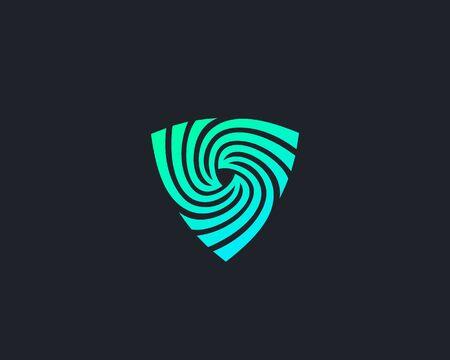 Shield spin design abstract modern minimal style illustration. Protection swirl vector icon symbol identity logotype.