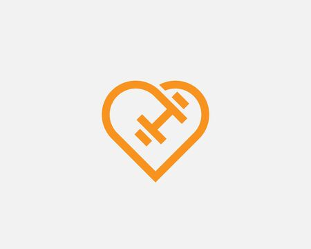 Heart dumbbell vector logotype. Love sport fitness gym workout icon. Illustration