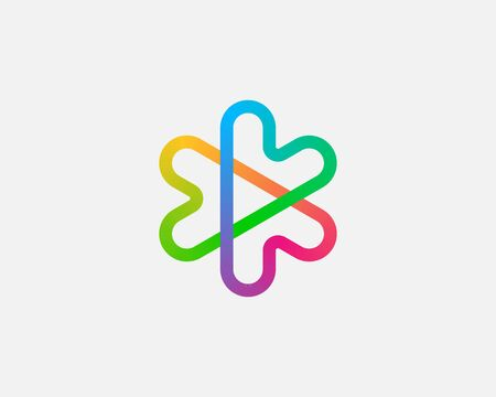 Abstract colorful linear icon design abstract modern minimal gradient style illustration. Hearts arrows plus play star vector emblem sign symbol mark logotype