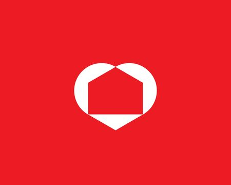 Abstract house in the heart icon design modern minimal style illustration. Love home negative space vector emblem sign symbol mark logotype.