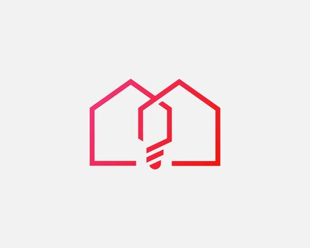 House bulb icon design abstract modern minimal style illustration. Home creative vector emblem sign symbol mark logotype.