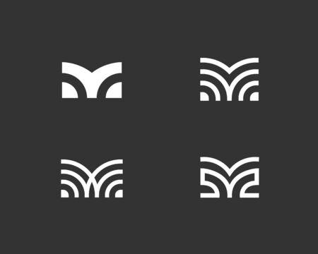 Set of letter M linear icon design modern minimal style illustration. Set alphabet vector emblem sign symbol mark logotype.