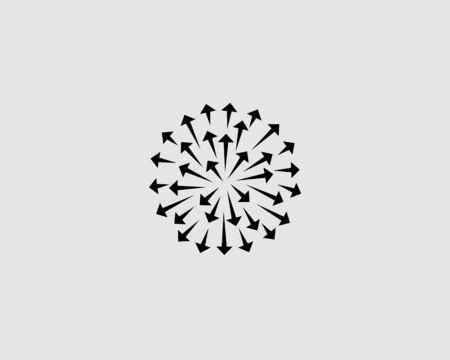 Abstract arrows circle icon design modern minimal style illustration. Firework 3d sphere vector emblem sign symbol mark logotype.