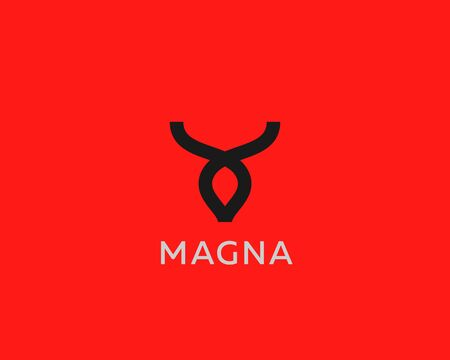 Abstract cow steak premium icon design modern style illustration. Bull horns line vector emblem sign symbol mark logotype. Illustration